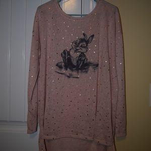Disney Thumper Pink Sparkles Long Sleeve Shirt XL